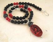 Cinnabar and Black Jasper Necklace