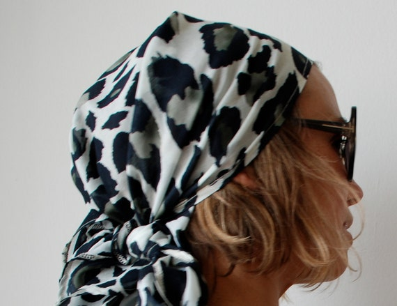 Animal print cotton voile head scarf with long ties. Summer essential and fabulous accessory. One size.