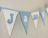 Personalised Name Bunting for birthday, christening, party, bedroom, nursery, blue, cream, pink, white,