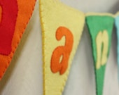 Rainbow large personalised bunting for childrens bedroom, baby's nursery, party, birthday, bright colours made with felt & ribbon