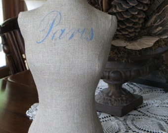 Small Vintage-Inspired Linen Dress Form Mannequin for Jewelry or Decoration
