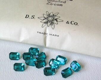 12 Vintage Zircon Swarovski Octagon rectangle Crystals 8x6mm