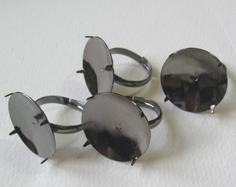 Black Plated Ring Setting 20mm  4 rings