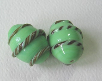 Two Large Vintage Opaque Mint Green and Brown Glass Lampwork Beads