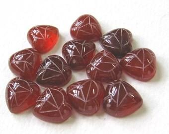 12 Heart Shape Carnelian Genuine Stone Scarab Cabochons Cabs