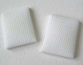 2 Vintage White Glass Rectangles with Chevron Pattern