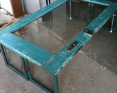 Vintage OOAK Fabulously Upcycled Beveled Glass Door Coffee Table---FREE SHIPPING