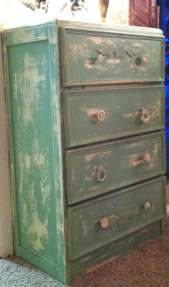 Reserved For Ariana---Recycled 1940's Distressed Vintage Dresser in Mint Green & Antique White