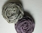 SILK Rosette flower duo HAIR CLIP - Fig purple, Pewter grey - Dupioni silk 3.75 inch