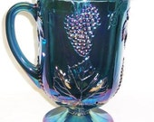 Indiana Glass Blue Carnival HARVEST GRAPE Large WATER Pitcher