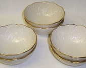 6-LENOX 4 1/2 Inch IVORY Dessert Bowls with Gold Trim