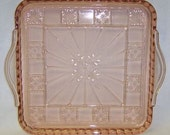 Jeannette Depression Glass Pink DORIC 8 X 8 Inch Handled RELISH or Serving TRAY