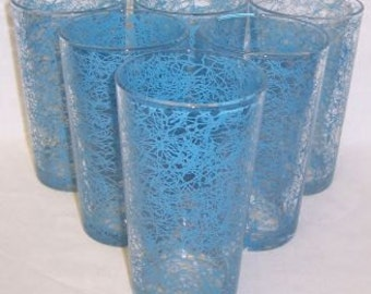 6-Hazel Atlas Crystal with Blue DRIZZLE 5 Inch WATER TUMBLERS