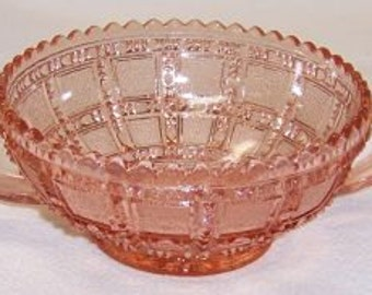 Imperial Pink BEADED BLOCK Depression Glass 4 3/8 Inch 2 Handled Jelly Bowl