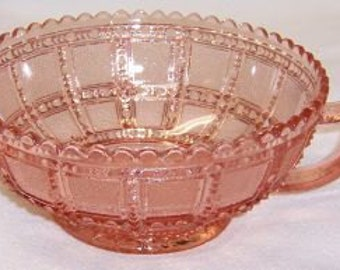 Imperial Pink BEADED BLOCK Depression Glass 5 1/2 Inch 1 Handled Jelly Bowl