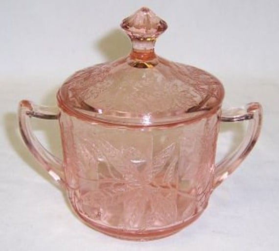 Jeannette Pink FLORAL POINSETTIA Depression Glass Sugar Bowl with Lid