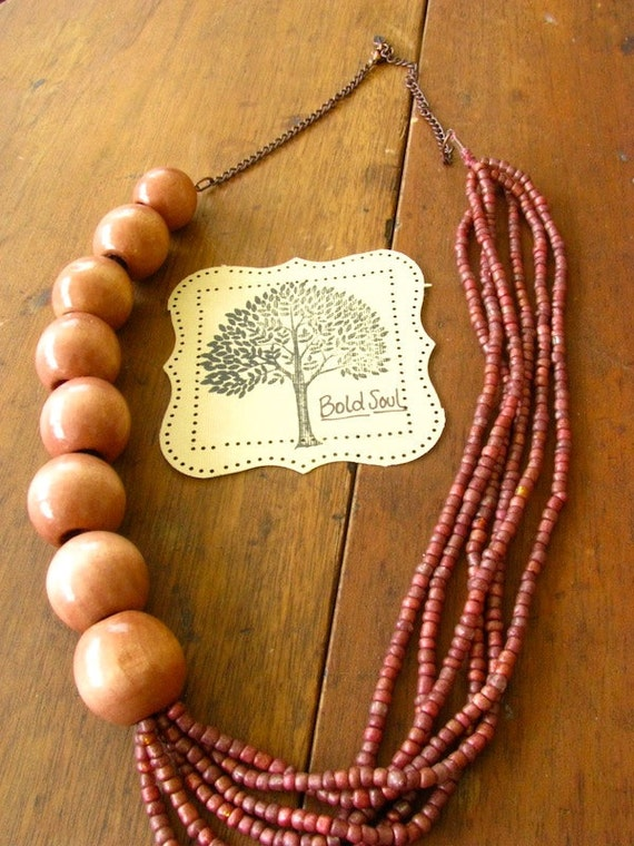 Long Multi-Stranded Metallic Purple Beaded and Wooden Beaded Necklace
