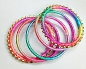 5 Pieces Handmade Colorful Bangles with Colorful Ribbons and Gems