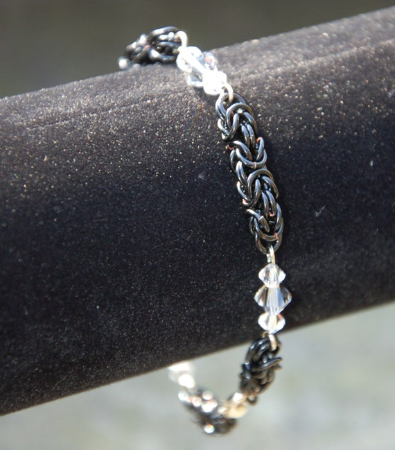 Make A Chain Mail Bracelet: Items Similar To Swarovski Crystal Byzantine Chainmaille