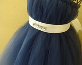 Navy blue halter tutu dress with bling