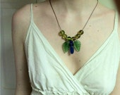 Free Shipping-Handcrafted Hemp and Blue and Green Glass Bead Elegant Necklace