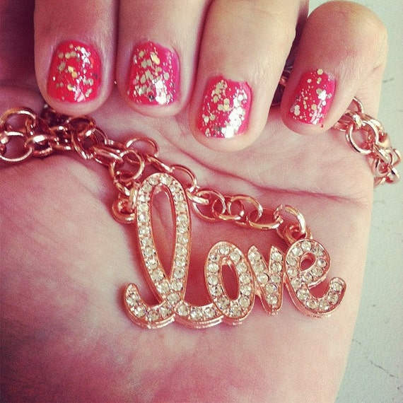 Rose gold pave Love necklace
