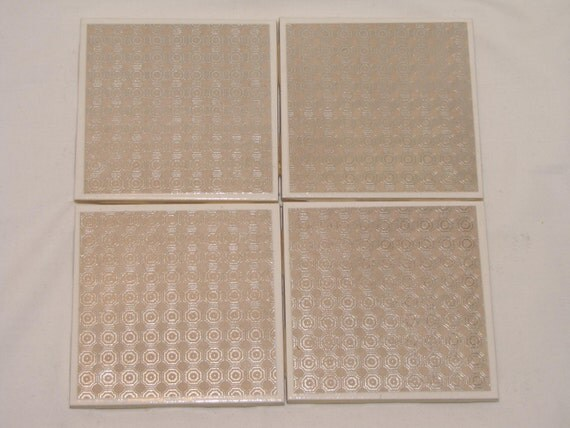 Silver and Beige Circles  Design Ceramic Tile Coasters Set of Four