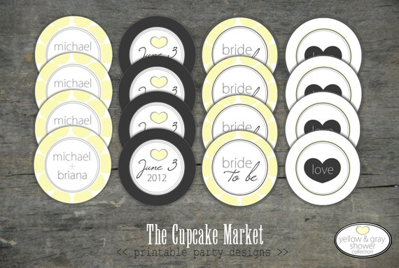 "PRINTABLE 2"" Party Circles - Yellow and Gray Bridal Shower - The Cupcake Market"