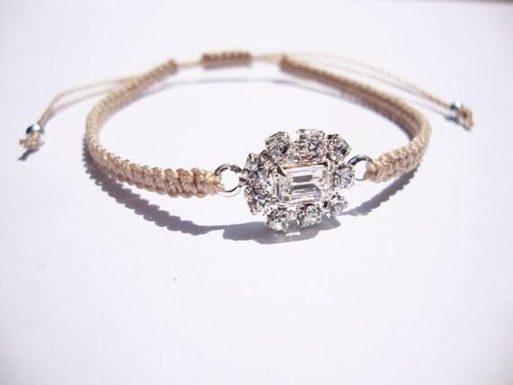 swarovski crystal . charm bracelet . macrame bracelet . friendship bracelet . crystal charm with sterling silver plating with beige cord .