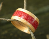 Red Oak Bentwood Ring with inlay of Red Coral
