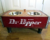elevated Dog or Cat Feeder and water bowl wood Repurposed Vintage wooden  Crate Dr. Pepper 1 quart capacity