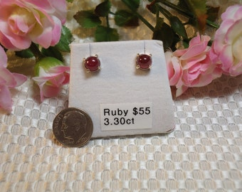 Cabochon Round Ruby Earrings in Sterling Silver   #48