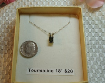 Emerald cut Tourmaline necklace in Sterling Silver, 18 inch chain