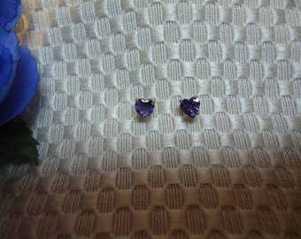 Heart shaped Iolite Earrings in Sterling Silver