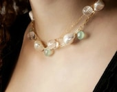 Bride, bridesmaid, or mother of the bride sterling silver or 14K gold filled choker necklace with mother of pearl (item W067)