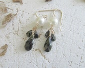 Shell pearl and cubic zirconia earrings (item W214)