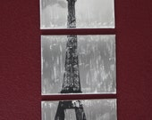 Paris' Eiffel Tower Triptych - Black and White Image Transfer on three 8 x 10 Canvases