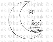 Owling at the Moon - I Dig Digi Stamp