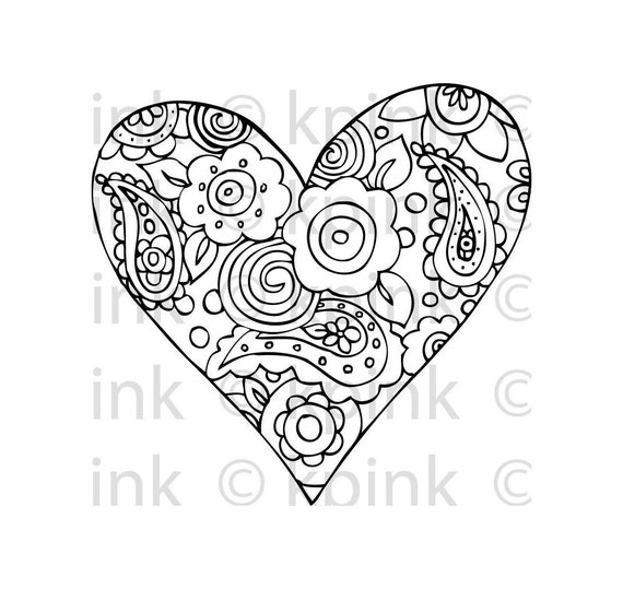 Heart-filled wishes black & white downloadable line drawing