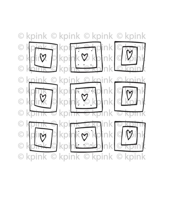 9 Hearts - I Dig Digi Stamp