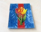 Petite Glass Tray - Floral rendition of 19th Century Tulips in Red, and Yellow over Blue background  (3.5 x 5 in)