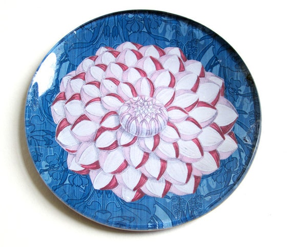 Round Glass Jewelry Holder - Pink petals Dahlia over blue nature background (5.25 in)