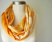RESERVED FOR MAGDALENA  Organic Cotton Tangerine Pattern Summer Infinity Scarf