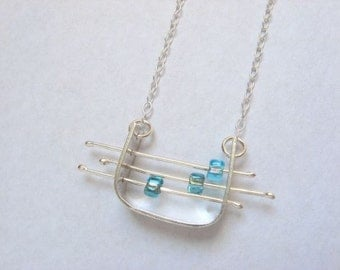 Abacus pendant sterling silver necklace