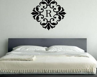 Damask Monogram Vinyl Wall Art