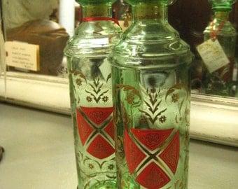 Unique Belgium Shield Jar Set,Decorative Arts-Glass-Jars,Antique Glass Jar,Antique Canisters on painted.