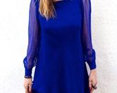 "Early 80's ""Hampton Nites"" Cobalt Blue Dress-M"