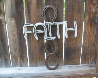 Faith Recycled Horseshoe SIgn- Rusted Clear Coat Finish