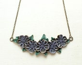 Short necklace with huge brass flowers - blue and lavender color - CvetCvet