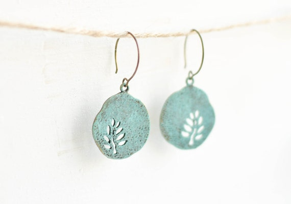 Blue round earrings with tree - patina earrings - copper ware